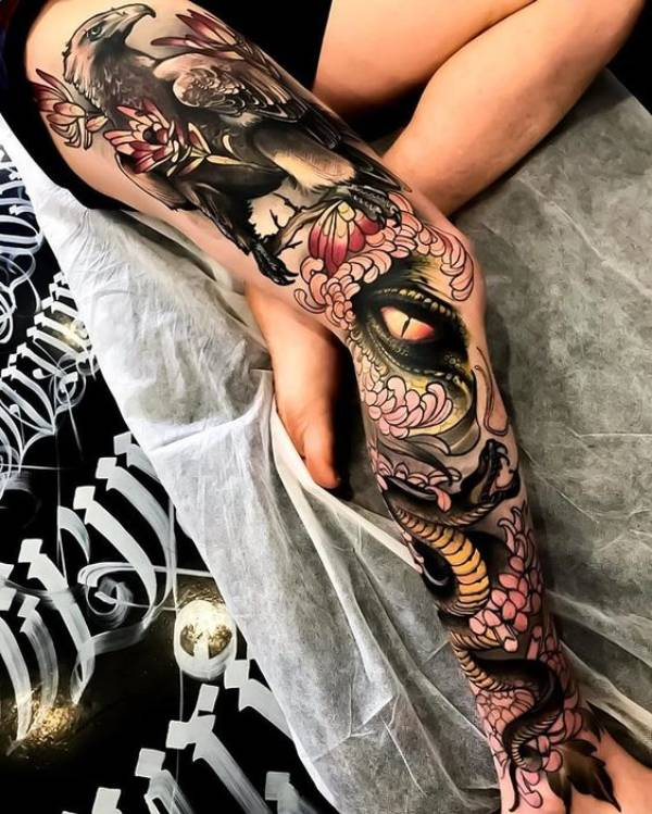 Japanese Leg Sleeve Tattoos