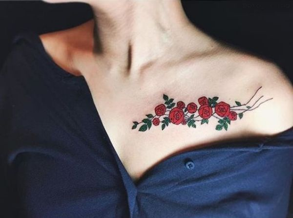 Collar Bone Flower Tattoos