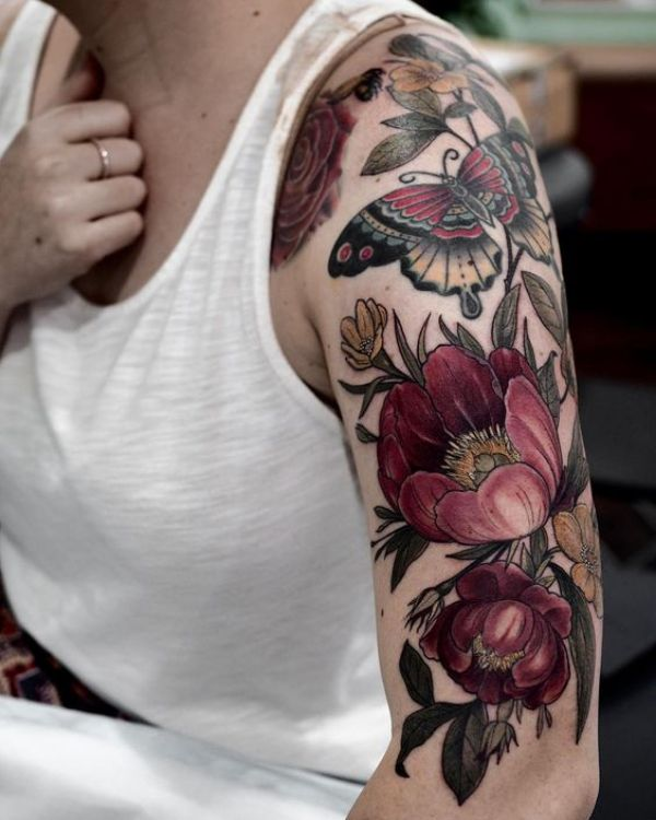 Coloured Flower Tattoos