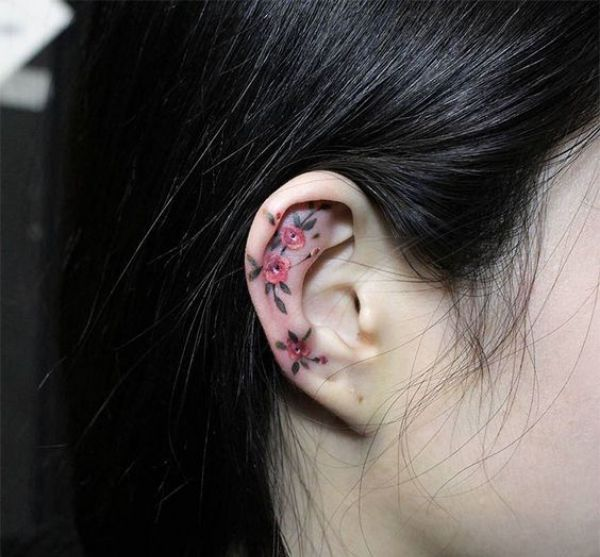 Ear Flower Tattoos