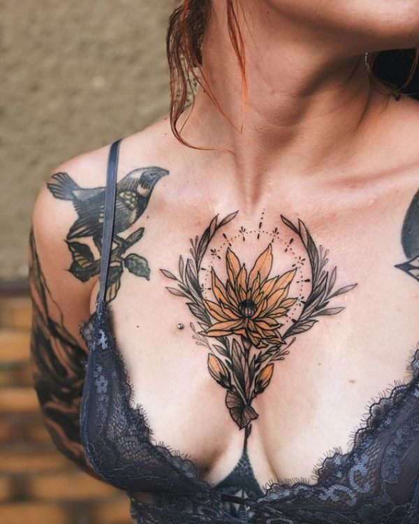 Flower Tattoos Chest