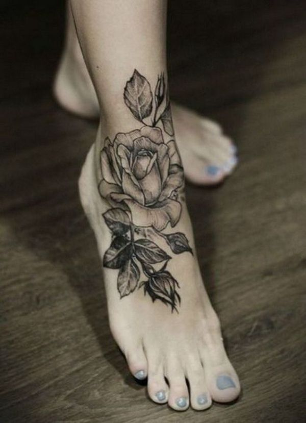Flower Tattoos On Foot