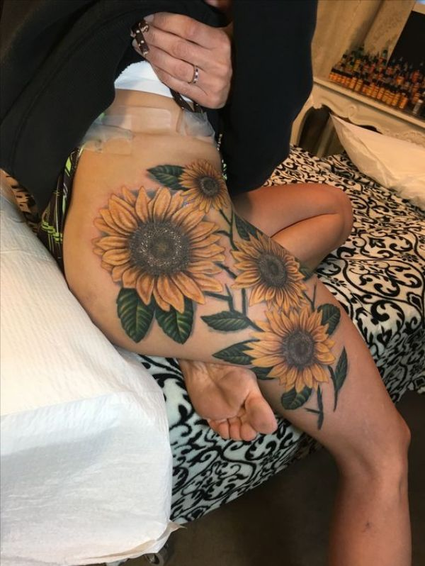 Flower Tattoos On Thigh