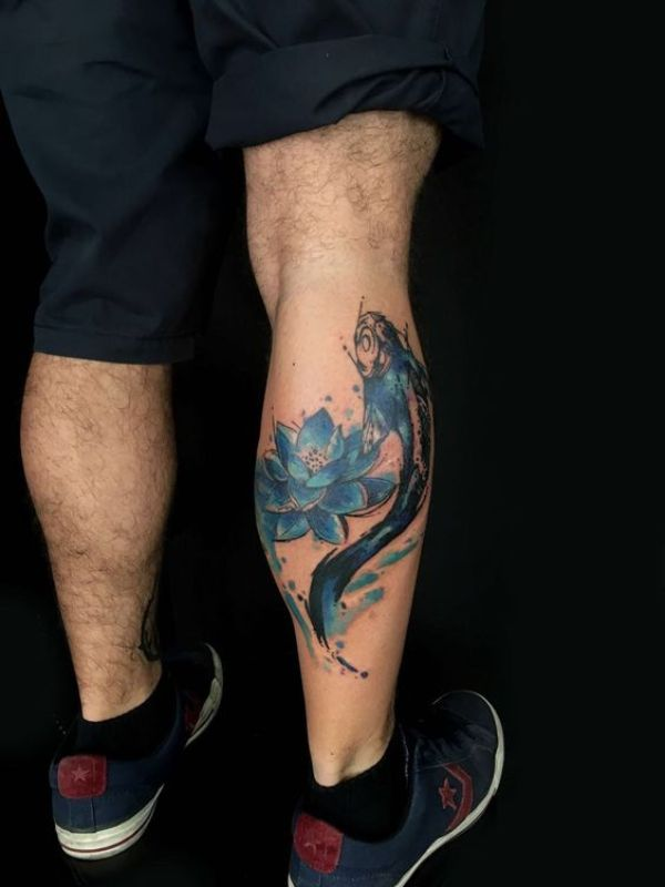 Koi Fish Lotus Flower Tattoos