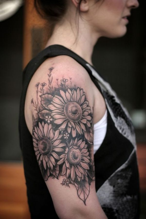 Quarter Sleeve Flower Tattoos