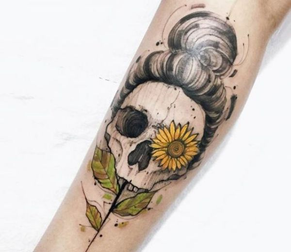 Skull And Flower Tattoos