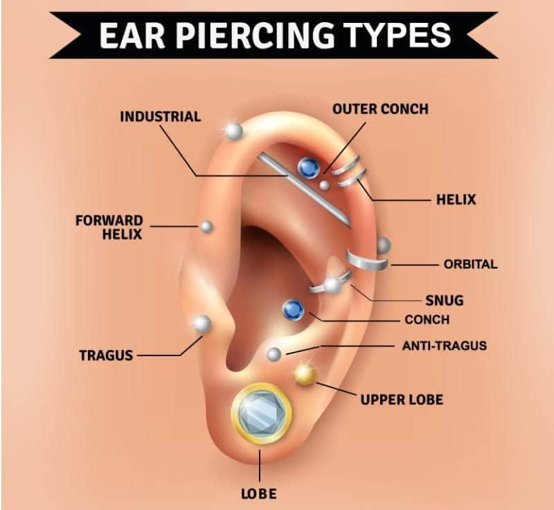 types of ear piercings models